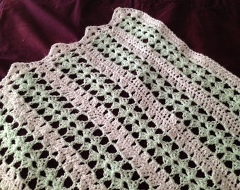 Baby afghan - mint green and white stripes