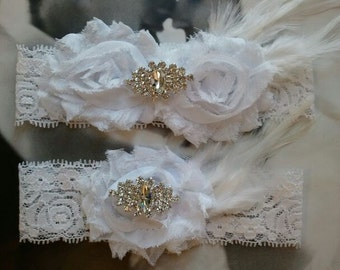 Bridal Garter, Wedding Garter and Toss Garter - White Garter Set with Rhinestone & Feather- Style G238