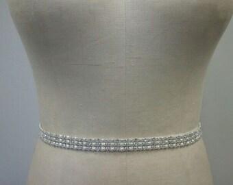 Wedding Belt, Bridesmaids Belt -3 rows of Ivory/Off White Pearl & Crystal Rhinestone Belt  - Style B161