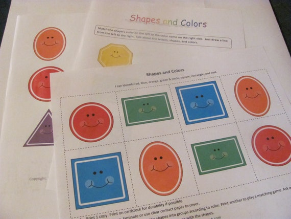 Items Similar To Shapes And Colors Games Children Toddlers