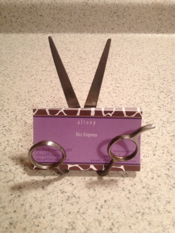 Custom upcycled scissor business card holder by affadotdesigns for Hairdresser business card holder