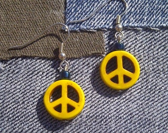 Yellow Peace Sign Drop Earrings