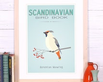 Bird poster Waxwing - Scandinavian design - retro print - vintage bird book- Wall Hanging - Scandinavian poster