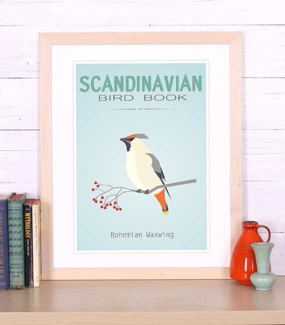 bird poster scandinavian bird decor waxwing print. Black Bedroom Furniture Sets. Home Design Ideas