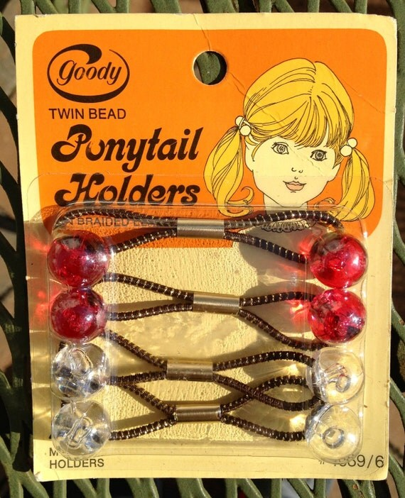 Vintage Goody Twin Bead Ponytail Holders New Old By