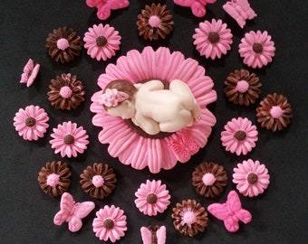 Fondant edible baby daisy pink/brown cake topper, Baby Shower, Birthday