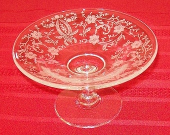 """Vintage New Martinsville """"Prelude"""" Pattern Etched Glass Compote"""