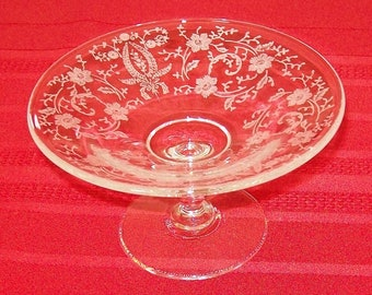 "Reduced - Vintage New Martinsville ""Prelude"" Pattern Etched Glass Compote"