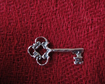 925 Sterling silver oxidized key charm
