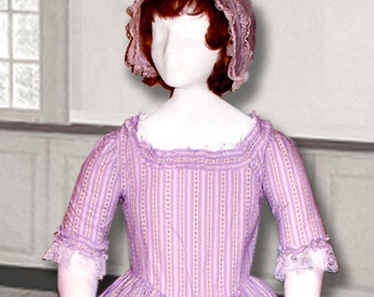 Felicity style Lavender Striped 18th Century Girl's Day Dress