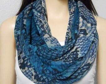Snakeskin  Print Infinity Scarf  Jersey Knit