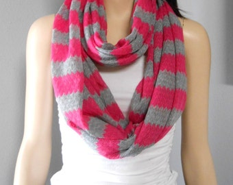 Hot Pink--Gray ZIG Zag   Infinity Scarf  Sweater Knit