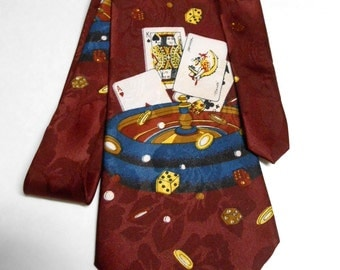 The Gamblers Vintage Burgundy  Necktie
