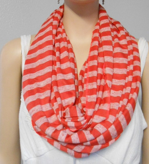 Striped Infinity Scarf Knitting Pattern : Infinity Scarf Coral Striped Soft Knit