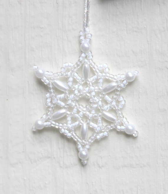 items similar to pearl white snowflake ornament winter