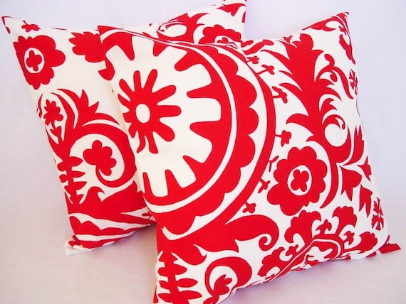 Items similar to Two Red Throw Pillows - Red and White Suzani Couch Pillow 20 x 20 inches ...