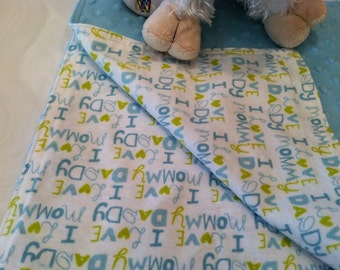 Clearance Sale, i took 50 percent off this blue minky  dot with love mommy, daddy flannel back cuddly