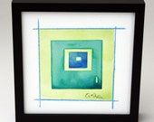"""Original Watercolor Abstract Painting (Flapjack): """"Lawn and Sky"""", 6""""x6"""" framed."""
