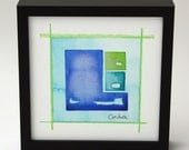 """Original Watercolor Abstract Painting (Flapjack): """"Harbor"""", 6""""x6"""" framed."""