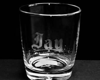 Personalized Etched Rocks/Whiskey Glass, Groomsmen Wedding Gift, Father/Dad, Husband Custom Gift