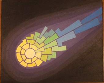 """Comet  8-1/2: x 10-1/4"""" x 1/8"""" abstract acrylic painting on masonite"""