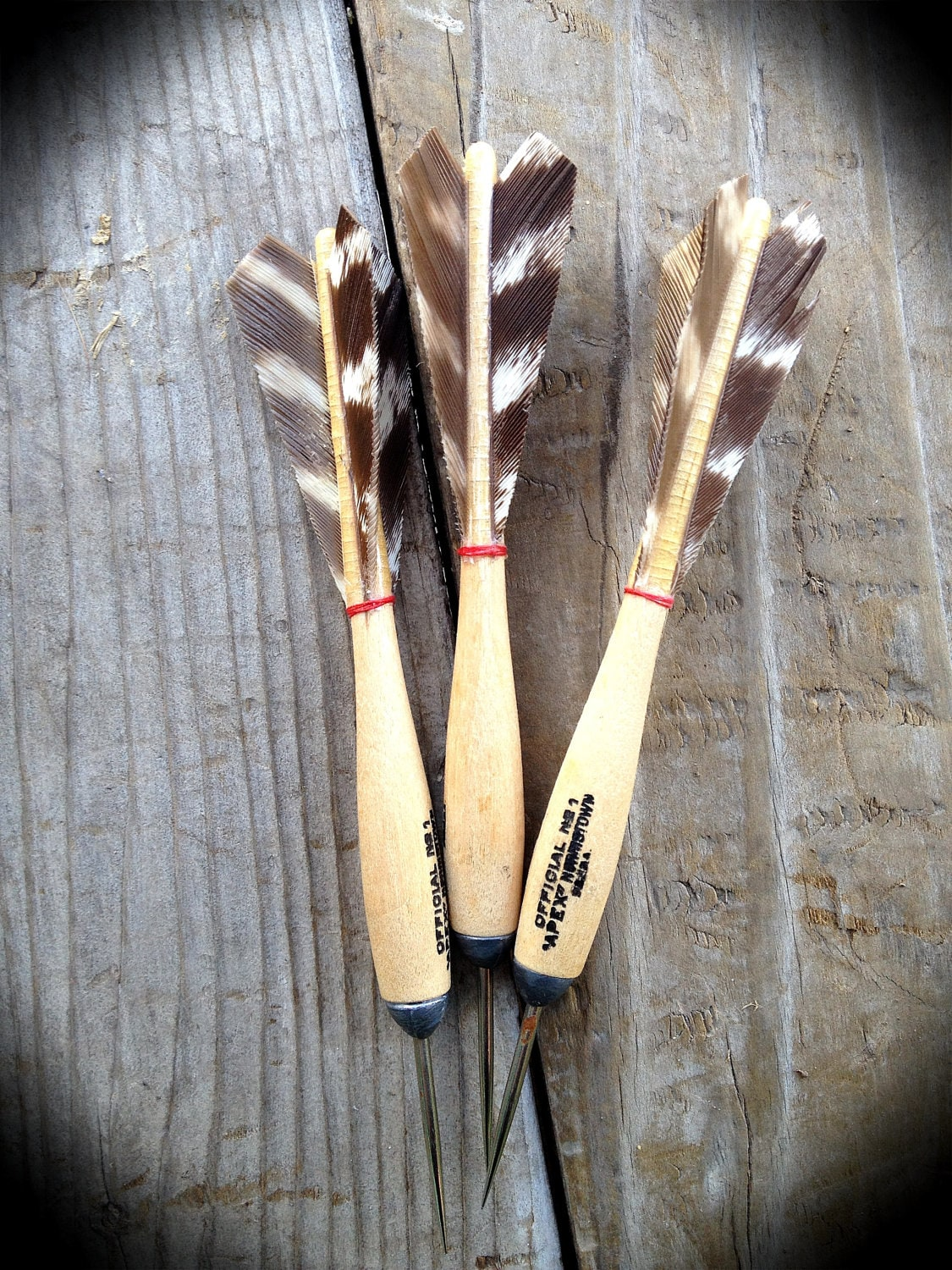 Vintage Wooden Steel Tipped Darts With Turkey By Lovethispeace