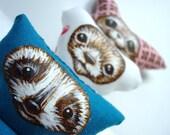 Cute Woodland Animals Holiday Ornament Set Fennec Fox, Bear, Raccoon Hand Painted Wildlife