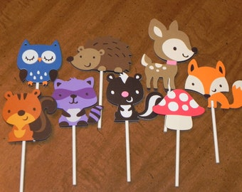 Woodland or Forest Friends Cupcake Toppers - Set of 12 - Woodland Critters Birthday Party