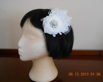 White Curled Feather Wedding Fascinator with Vintage Brooch and Russian Netting.