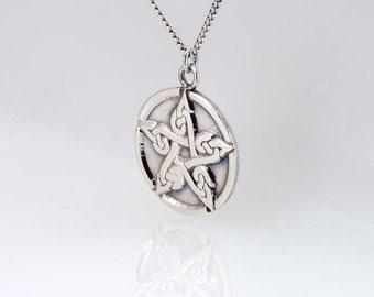 Nudo celta trabajo pentáculo Wicca plata collar colgante pagano