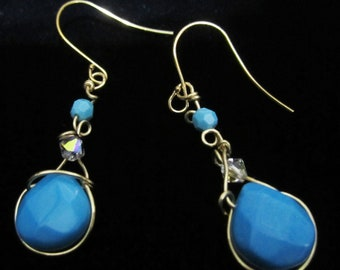 Wire Wrapped Chalk Turquoise & Swarovski Dangle Earring