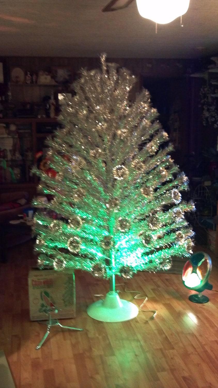 Aluminum pom pom 6 39 christmas tree rotating by for Motorized rotating christmas tree stand