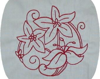 Instant Download Flourish Redwork Embroidery Design 4x4