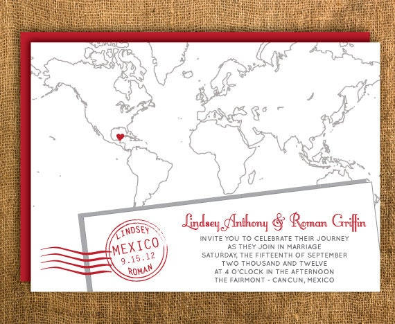 Kinkos Printing Wedding Invitations: Printable Map Wedding Invitation & Reply Card By PrettyMyParty