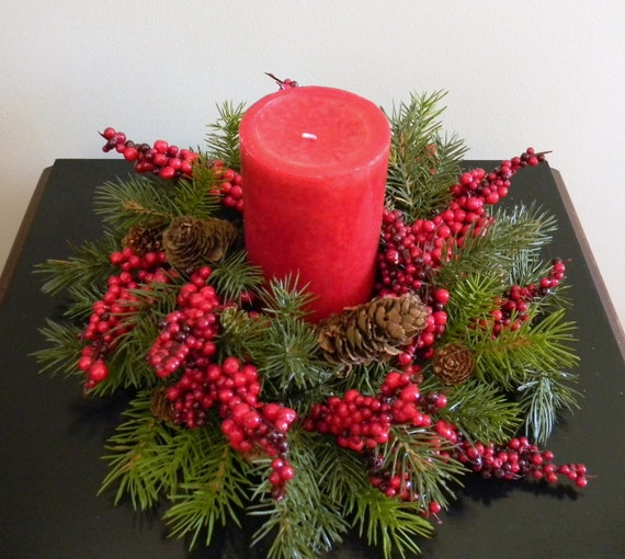 Pine and Berries Candle Ring Christmas Candle Ring Candle