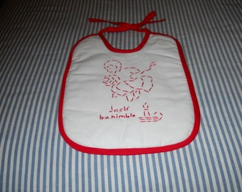 Hand embroidered baby bib - Jack be Nimble