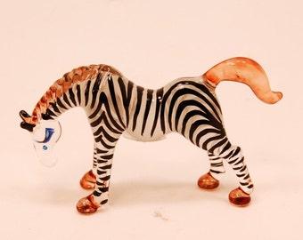 Glass Animal Figurine: handmade African Zebra statuette.  Lampworked in boro glass by hand.
