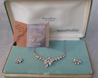 Vintage Van Dell Necklace Earrings Silver Bridal Orig. Box