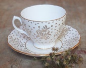 Vintage Royal Vale Tea cup - White and Gold Floral with Stars - circa 1930's-  Stars