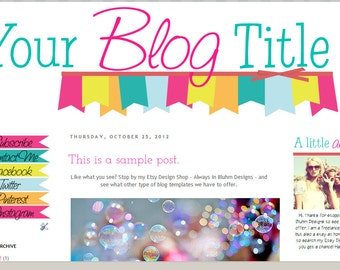 INSTANT DOWNLOAD - Premade Blogger Template - Bright & Shiny