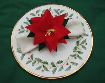 Set of 4 Red Wool Felt Poinsettia Napkin Rings