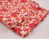 Vintage Fabric - 1970's Polyester Knit Fuchsia Pink and Orange Floral Print