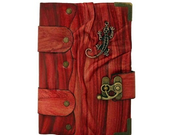 Lizard Cast Red Leather Journal / Notebook / Diary / Sketchbook / Leatherbound