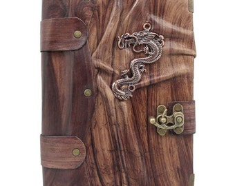 Chinese Dragon Cast On A Brown Leather Journal / Notebook / Diary / Sketchbook / Leatherbound
