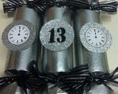 New Year's Eve Crakers / Bon Bons - Pack of 6 - Silver & Black