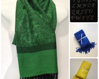 Green and Black Paisley pashmina shawl with rhinestone initial
