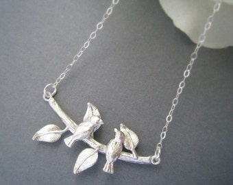 Two Birds on Tree Necklace in STERLING SILVER CHAIN--Bird Necklace, Birds on a Branch, Birds on Swing--Perfect Gift for mom for friends