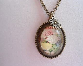 SALE: 2 dollars off! Antique brass Chrysanthemum  glass cameo style charm necklace