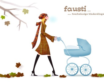 Fausti-the stroller glove dark denim