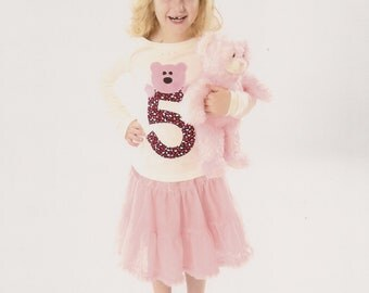 Adorable appliqued teddy bear birthday shirt